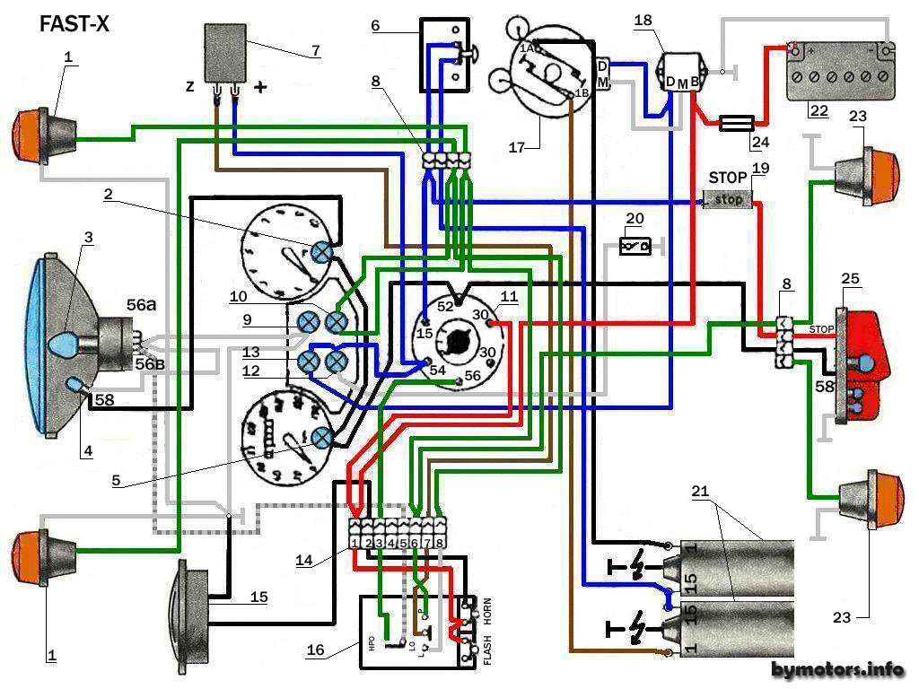 схема подключения поворотников на ява 350 6 вольт
